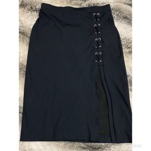 Bebe black long skirt with slit